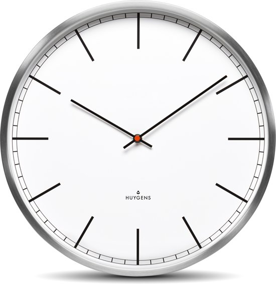 Huygens wall clock one35 stainless steel white index