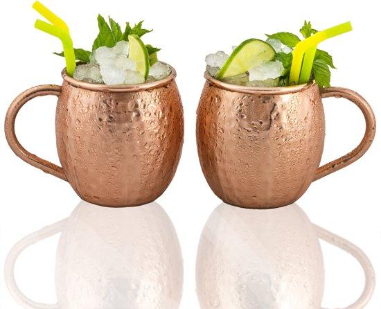 Gadgy Moscow Mule bekers - Set van 2 gehamerde koperen cocktailbekers – 100% koperen mok voor cocktail - Inhoud 475 ml.