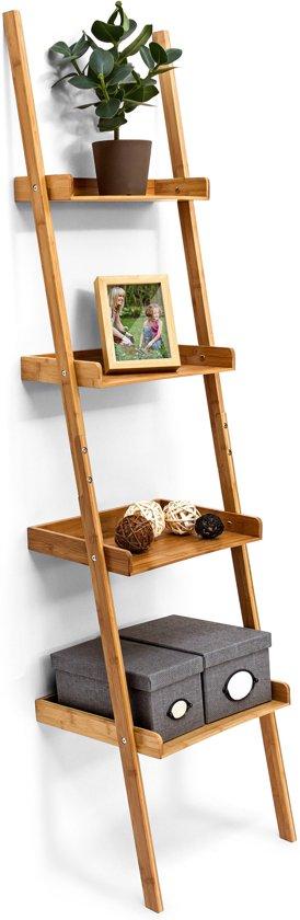 relaxdays - ladderrek bamboe - rek 4 planken - trappenrek - wandrek - houten rek
