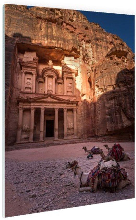 Historische stad Petra in Jordanië Glas 20x30 cm - klein - Foto print op Glas (Plexiglas wanddecoratie)