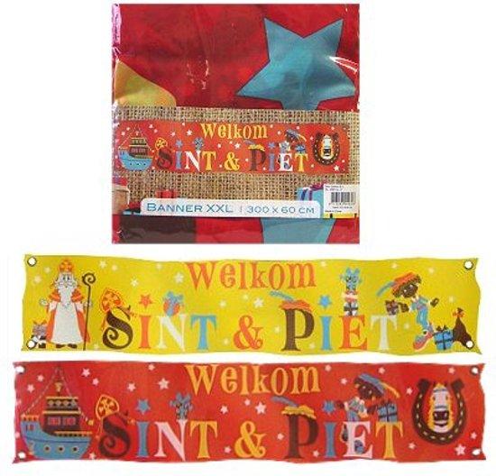 Sinterklaas banner spandoek Welkom Sint 300 cm Rood