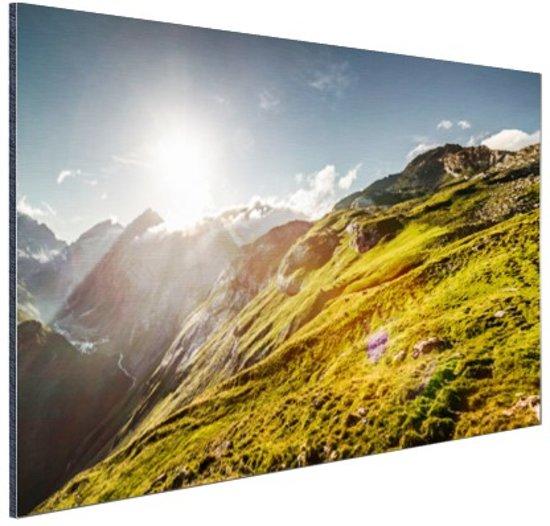 Grasrijk berggebied Aluminium 60x40 cm - Foto print op Aluminium (metaal wanddecoratie)