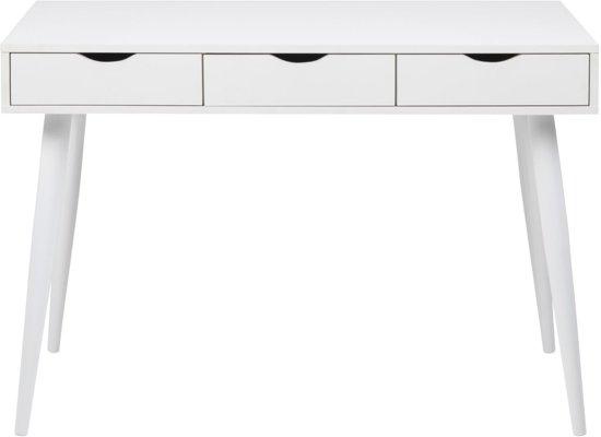 Wit Bureau Houten Poten.24designs Bureau Saga L110 X B50 X H77 Cm 3 Witte Laden Witte Poten