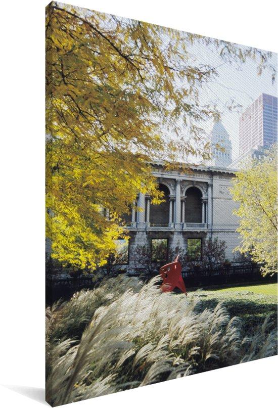 Art Institute of Chicago met mooie bladeren Canvas 60x90 cm - Foto print op Canvas schilderij (Wanddecoratie woonkamer / slaapkamer)
