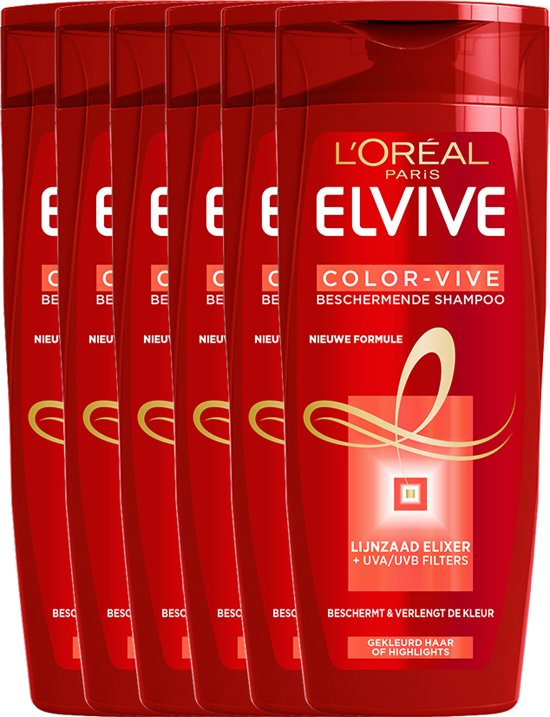 L'Oréal Paris Elvive Color Vive Shampoo - 6x250 ml - Voordeelverpakking