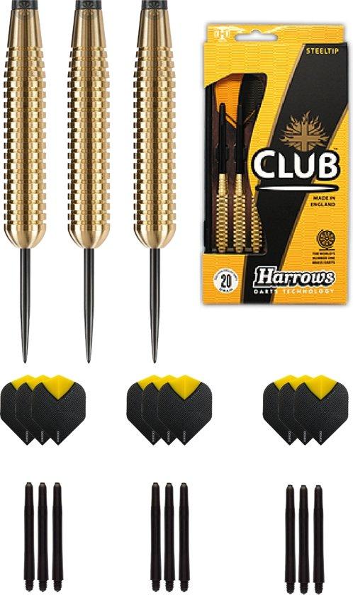 Harrows - Club Brass 100% Ringed Brass darts met 9 - dartshafts - en 9 - dartflights - 19 gram - dartpijlen