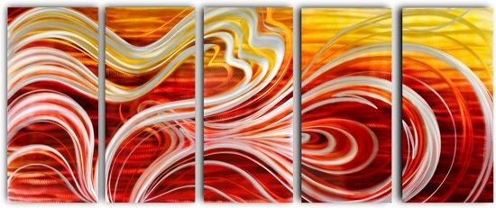 Schilderij aluminium vijfluik Abstract 80x200cm