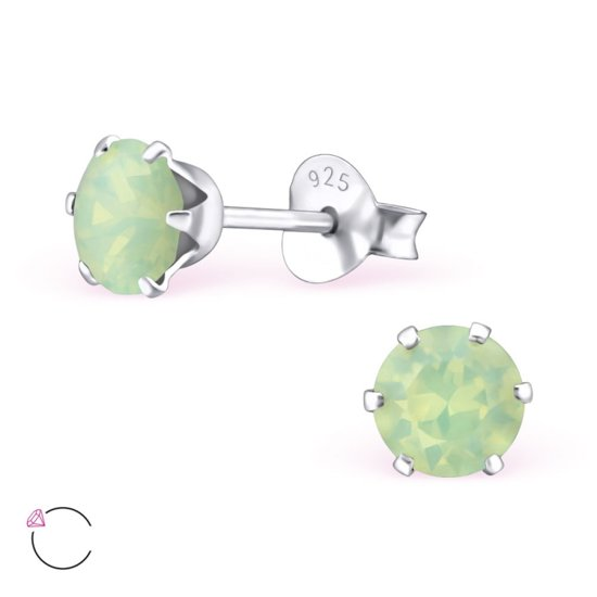 oorbellen rond-swarovski elements kristal-925 zilver-chrystoliet opaal-5mm