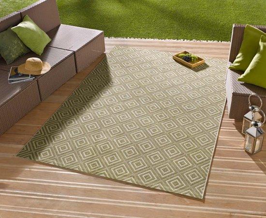 Vloerkleed - In&outdoor - bougari Karo - Groen - 160x230cm geweven