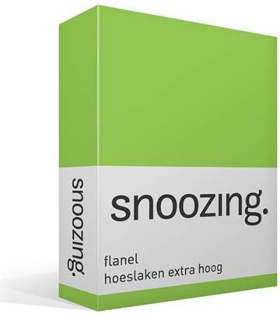 Snoozing - Flanel - Hoeslaken - Lits-jumeaux - Extra Hoog - 160x200 cm - Lime