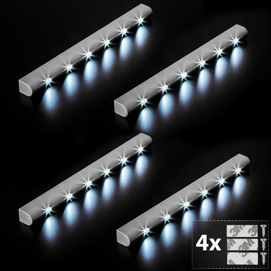 tectake 4 led lichtlijst kastlicht onderbouw lichtbalk 401741. Black Bedroom Furniture Sets. Home Design Ideas