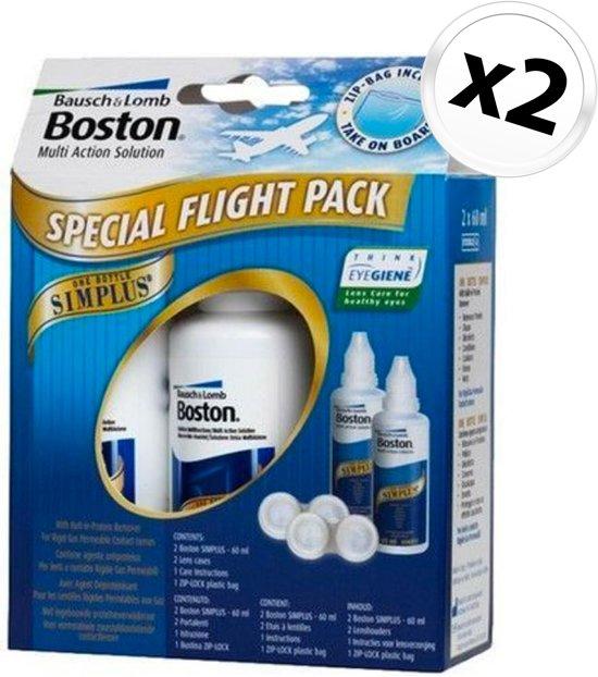 Boston Simplus Flight Pack - 2 x 60 ml + 2 lenshouders + Zip-bag - Lenzenvloeistof