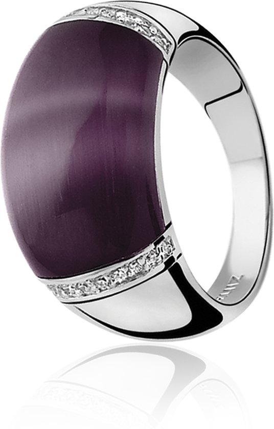 Zinzi - Zilveren Ring - Paarse Cateye - Zirkonia - Maat 62 (ZIR794P62)