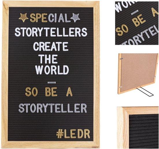 LEDR® Letterbord 30 x 45 Zwart – Inclusief 354 letters en cijfers – Eiken houten frame
