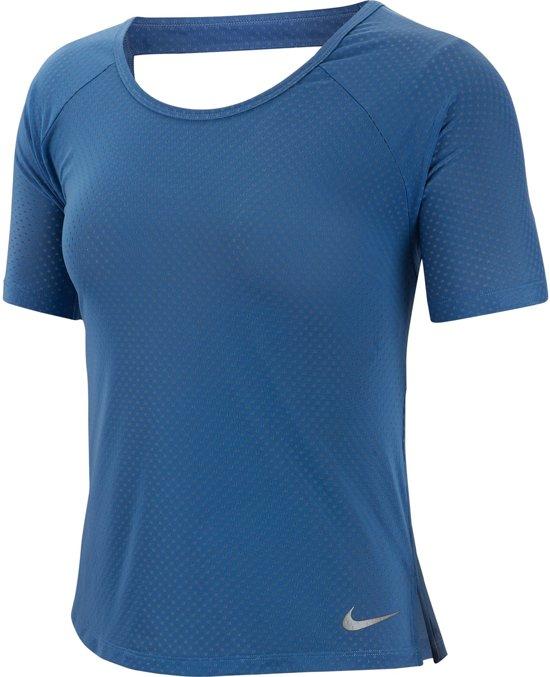 Nike Miler Top Ss Breathe Sportshirt Dames Indigo Storm(Reflective Silv) Maat XL