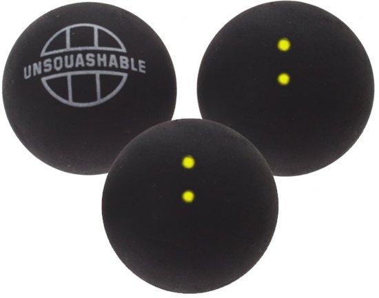 3 squashballen dubbel gele stip van unsquashable