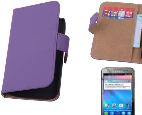 MP Case Bookstyle Hoes voor Alcatel One Touch M'pop OT-5020 Paars in Schaveren