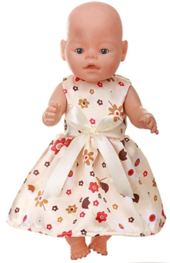 Poppenkleertjes voor Baby Born - Jurkje met bloemetjes en gele strik - zomerjurk voor babypop