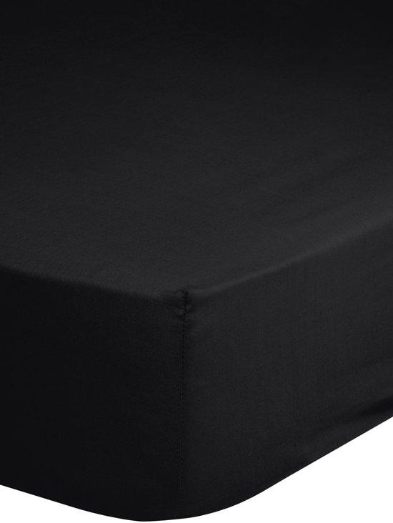 Hoeslaken katoen strijkvrij zwart 90x220