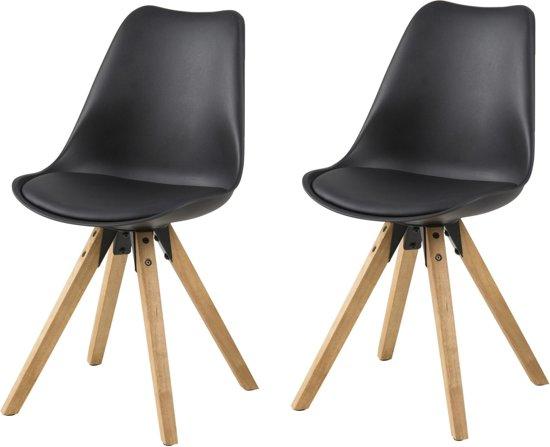 24designs stoel consilium dex zwarte zitting houten poten set van 2 - Houten plastic stoel ...