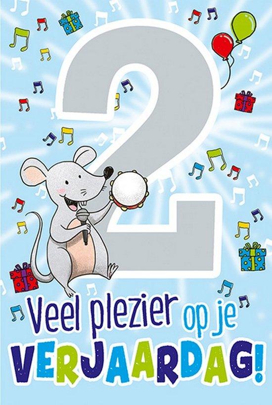 Cijferkaart Met Muziek 2 Jaar Veel Plezier Op Je Verjaardag Blauw