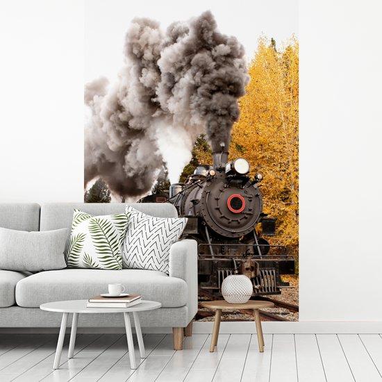 Fotobehang vinyl - Stoomlocomotief met mooie rook pluimen breedte 200 cm x hoogte 300 cm - Foto print op behang (in 7 formaten beschikbaar)