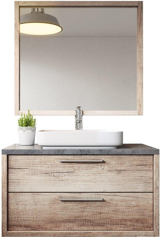 Badplaats Badkamermeubel Indiana 90cm Met wastafel en spiegel - Nature wood