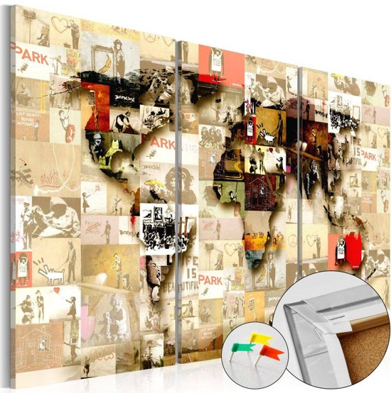 Afbeelding op kurk - Banksy collage, wereldkaart