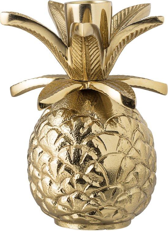 Bloomingville - Kandelaar Ananas - Aluminium - Goud - 9,5xH13,5 cm