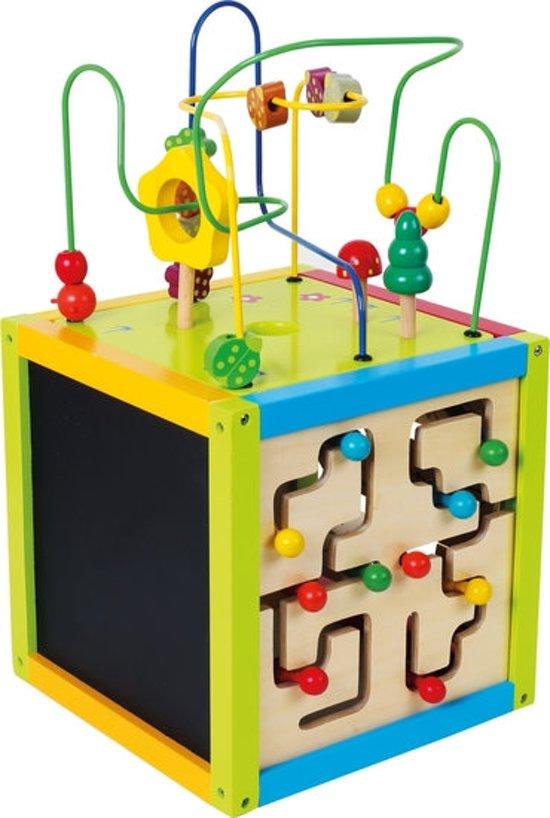 Kralenspiraal - Activiteiten kubus + leren schrijven + muziek maken - Large - 30 x 30 x 54 cm - Hout speelgoed vanaf 1 jaar