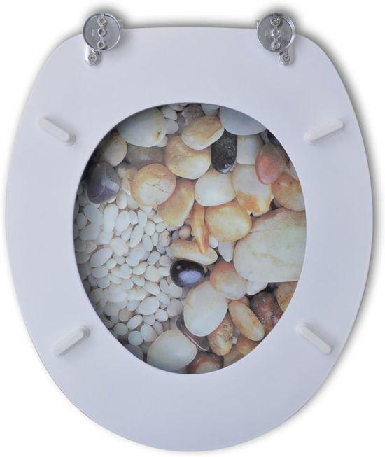 vidaXL Toiletbril van MDF met kiezelstenen dessin