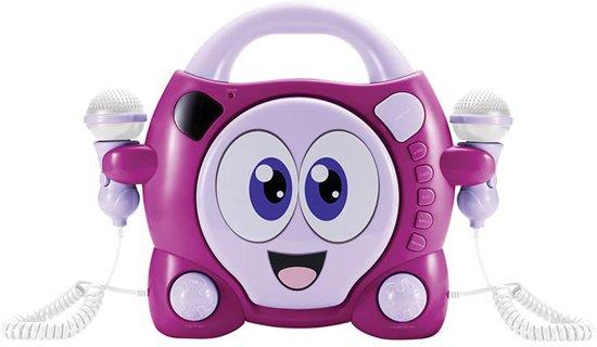 Draagbare Roze/Lila cd-speler met 2 karaoke microfoons