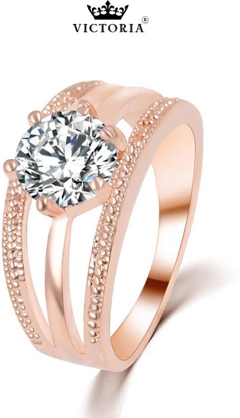 Victoria - Rose Goudkleurige Ring - Oostenrijks Bergkristal - Maat 56 (17.75mm)