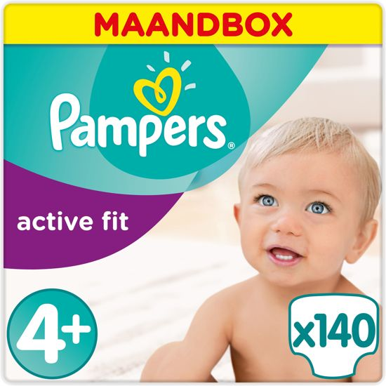 Pampers Active Fit Luiers Maat 4+ Maandbox