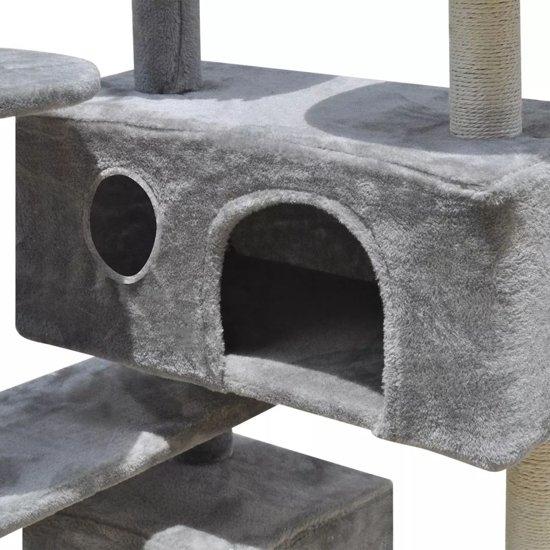 vidaXL Katten Krabpaal 126 cm 2 Huisjes Grijs