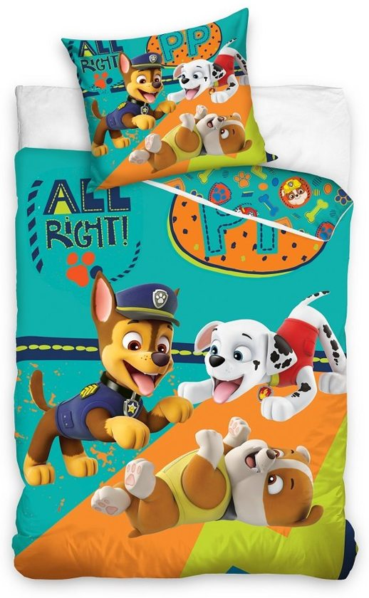 Paw Patrol dekbedovertrek - All Right - eenpersoons - 140 x 200