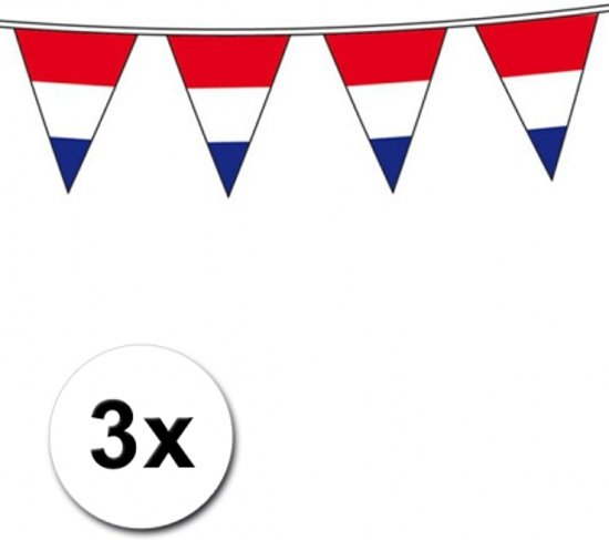3x vlaggenlijn / slinger Holland - koningsdag