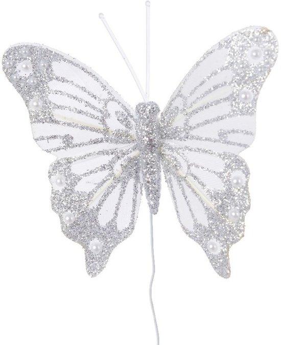 Kerststukje maken witte vlinder 8 cm - Vlinder stekers/stekertjes