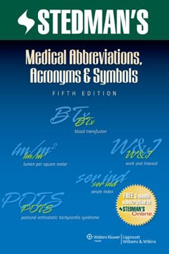 Bol Stedmans Medical Abbreviations Acronyms Symbols