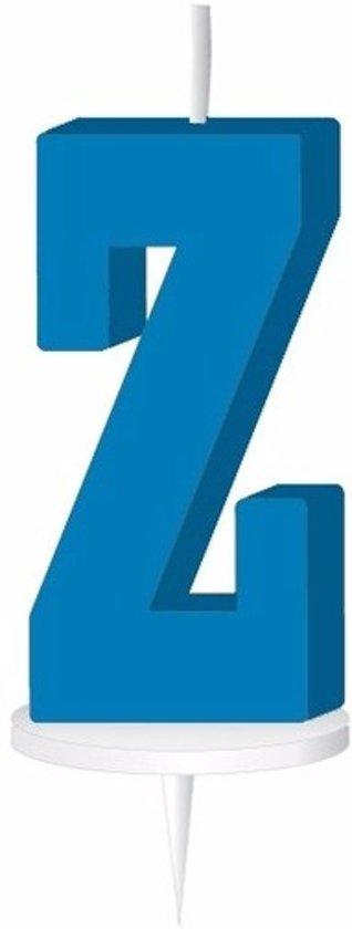 Blauw letterkaarsje met houder Z