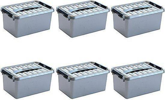 Sunware Q-line opbergbox 6 liter Metaal/Zwart 6 stuks