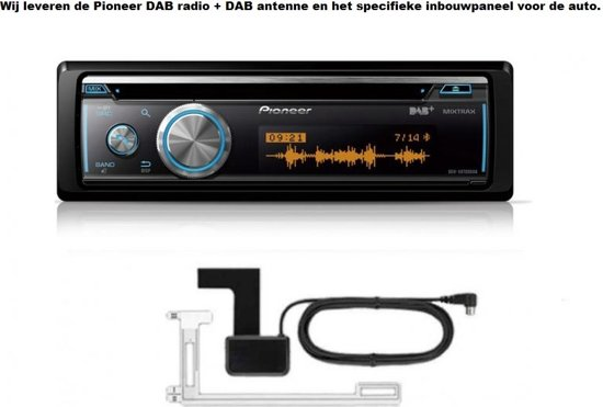 DAB Autoradio met plak antenne inclusief 1-DIN VOLVO S60 2000-2004; V70, XC70 2001-2004 (with pocket) inbouwpaneel Audiovolt 11-557 in Saaxumhuizen