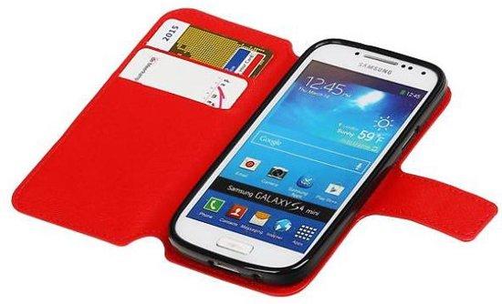 Mobieletelefoonhoesje - Samsung Galaxy S4 Mini Hoesje Cross Pattern TPU Bookstyle Rood in Eelderwolde