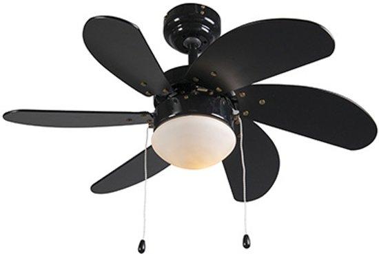 Slaapkamer Lamp Zwart : Bol qazqa fresh plafond ventilator met lamp zwart
