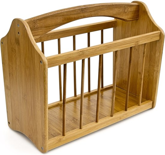 Nieuw bol.com | relaxdays Krantenbak bamboe hout - Tijdschriftenhouder QW-02