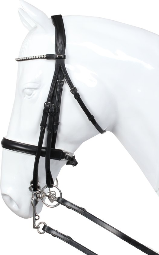 HORKA HOOFDSTEL DELGADO STANG EN TRENS PONY zwart/wit