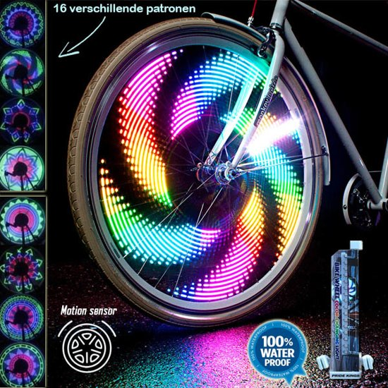 diy fietswiel spaakverlichting 32 led 16 patronen 2 stuks