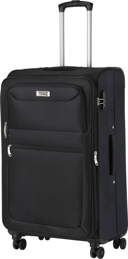 Travelz - Softspinner reiskoffer - Trolley 80 cm - incl cijferslot - Gevoerde binnenkant - Zwart