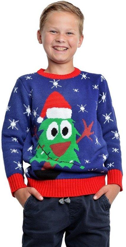 Kersttrui Voor Kinderen.Bol Com Blauwe Kerst Trui Met Kerstboom Voor Kinderen 5 6 Jaar