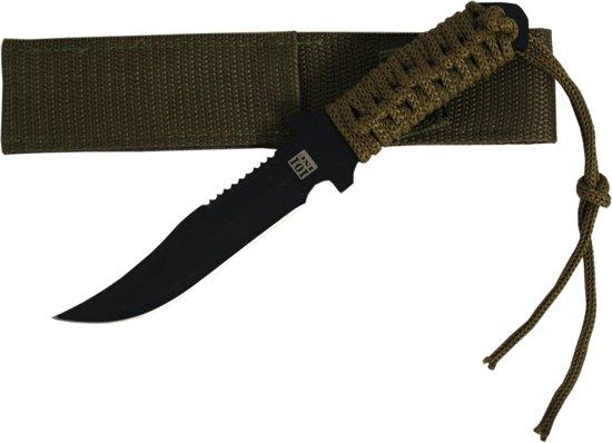 101inc Survival Mes B - Gehard Staal - 19,5 cm - Groen